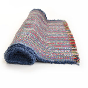 handwoven slate blue multicolored table runner