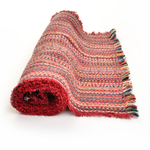 red multicolored handwoven table runner