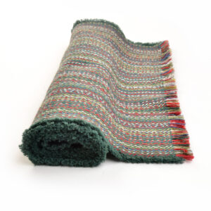 handwoven multicolored forest green table runner