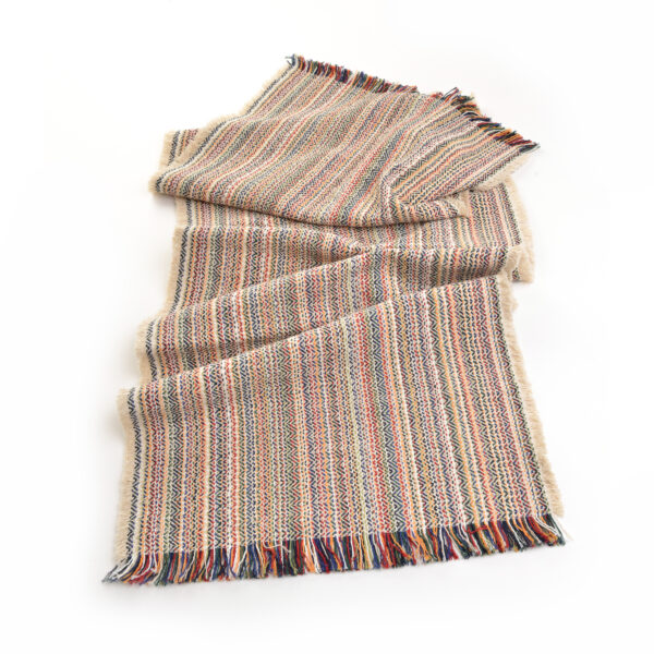 natural colored table runner with rainbows, handwoven colorful table runner
