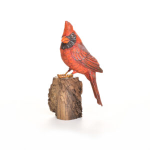carved and painted cardinal red bird, nc traditional woodcarver
