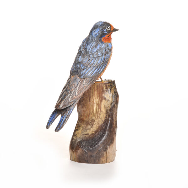 hand-carved and painted barn swallow, traditional bird carvings
