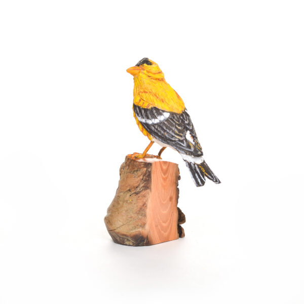 carved and painted goldfinch, nc traditional woodcarver