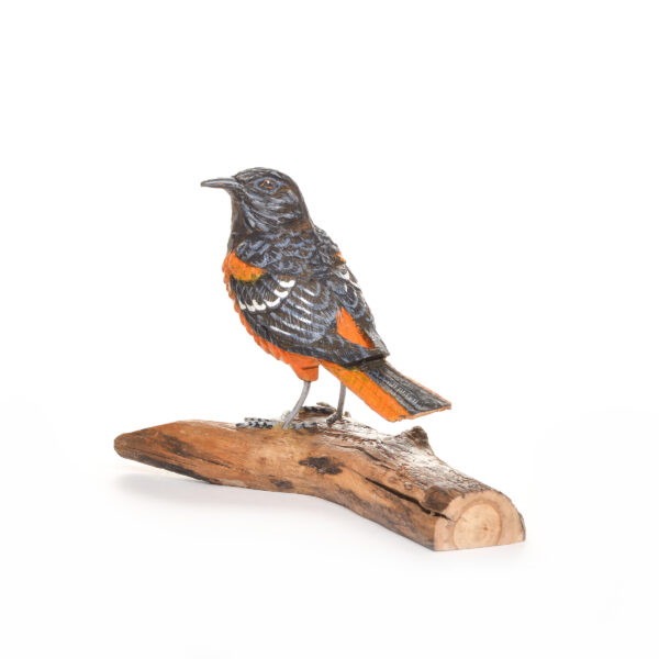 carved and painted baltimore oriole, nc traditional woodcarver