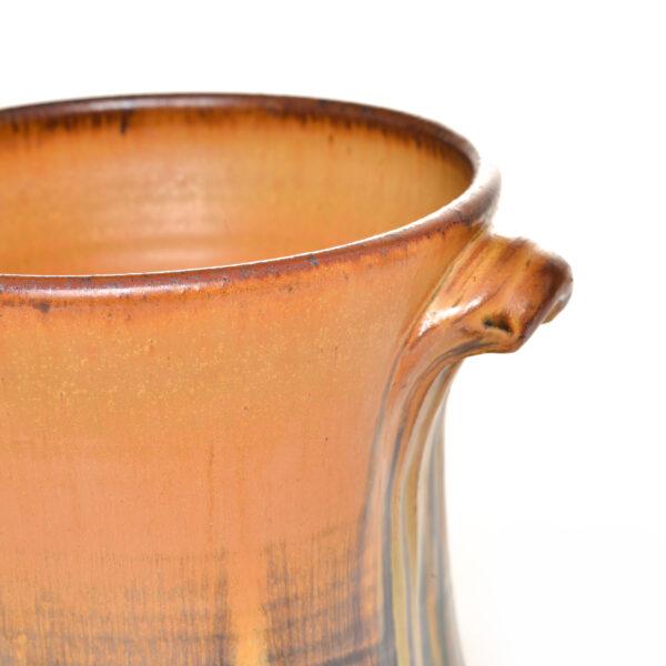 brown with blue highlights handmade ceramic utensil holder, village potters asheville, woman potter