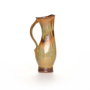 brown handmade wheel thrown ceramic pitcher, sarah wells rolland potter, village potters