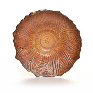 handmade carved ceramic platter with brown glaze