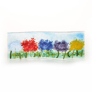 rainbow of flowers small glass tabletop sculpture, small glass field of flowers