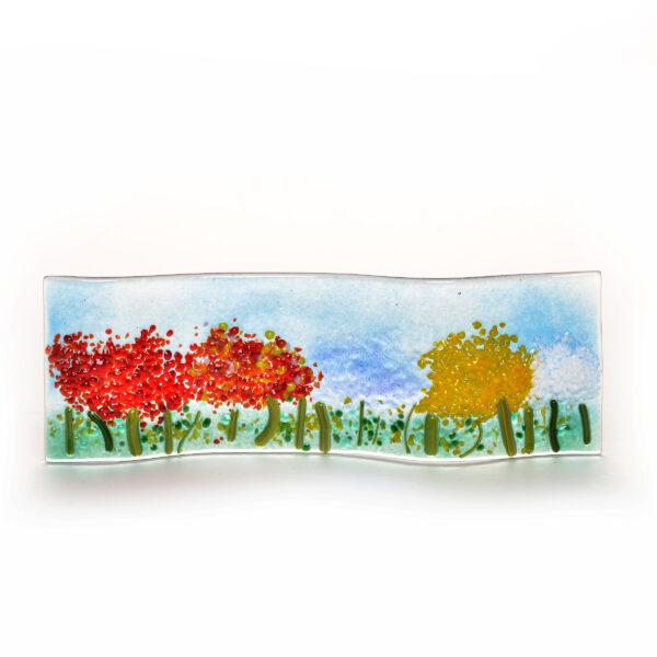 fused glass small spring trees, small windowsill glass flower field