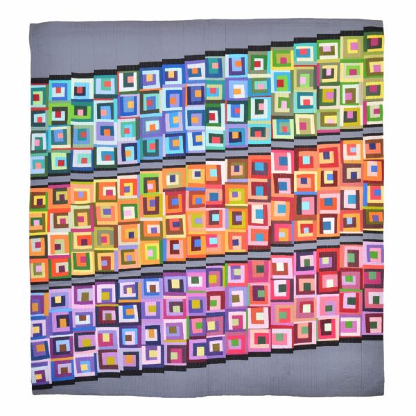 bright colored diagonal quilt, large bright colorful quilt