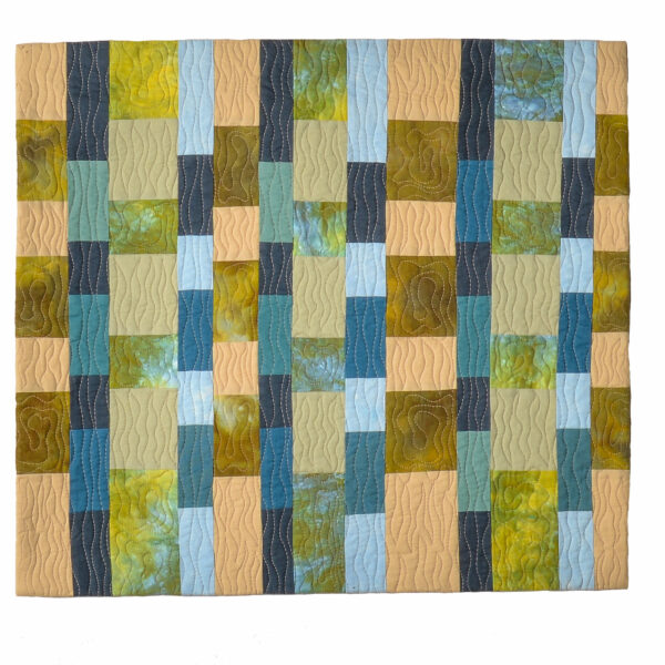 green and brown handmade wall quilt, mountain home decor