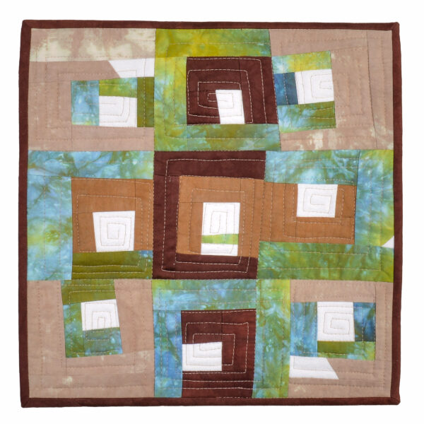 nature quilt, small quilt made with colors found on a walk in the park