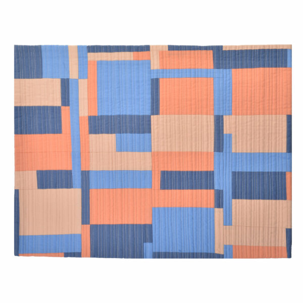 coral blue and pink handmade small quilt, small quilt wall hanging