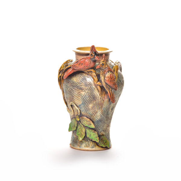 ceramic vase with 2 red birds on the side, cardinal bird vase