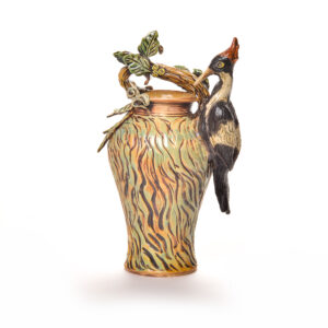 handmade woodpecker ceramic vase with a red headed woodpecker