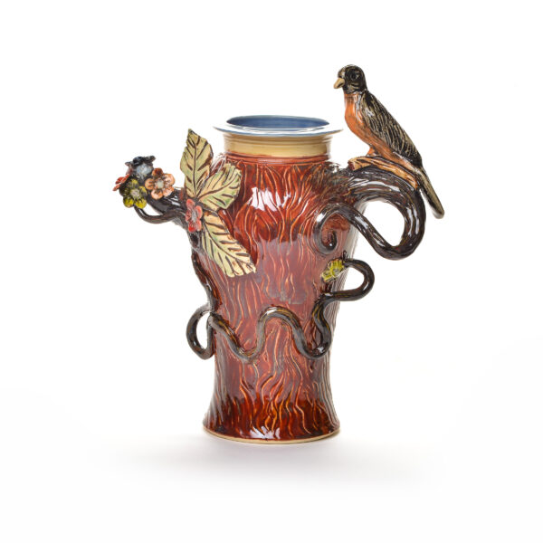 handmade ceramic vase with vine handles and a robin perched on the handle, bird sculpture