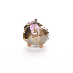purple daisy salt pig, handmade ceramic flower salt cellar