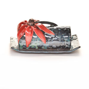 red coneflower handmade ceramic covered butter dish