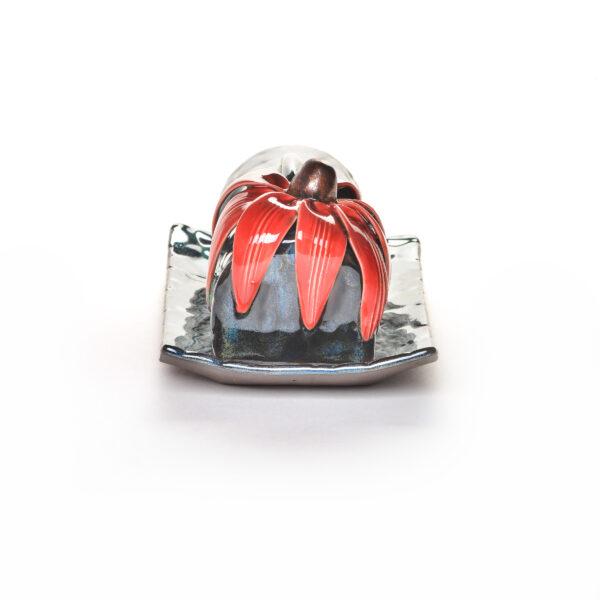 red coneflower handmade ceramic covered butter dish