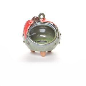 green ceramic salt pig with red coneflower on top, handmade salt cellar