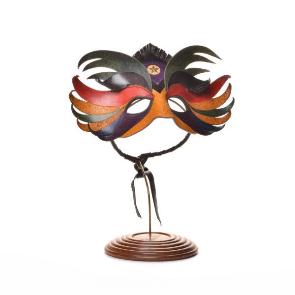 handmade colorful leather mask, karen noggle,