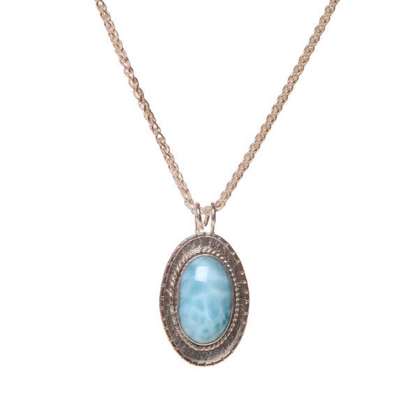 long oval lirimar handmade pendant necklace