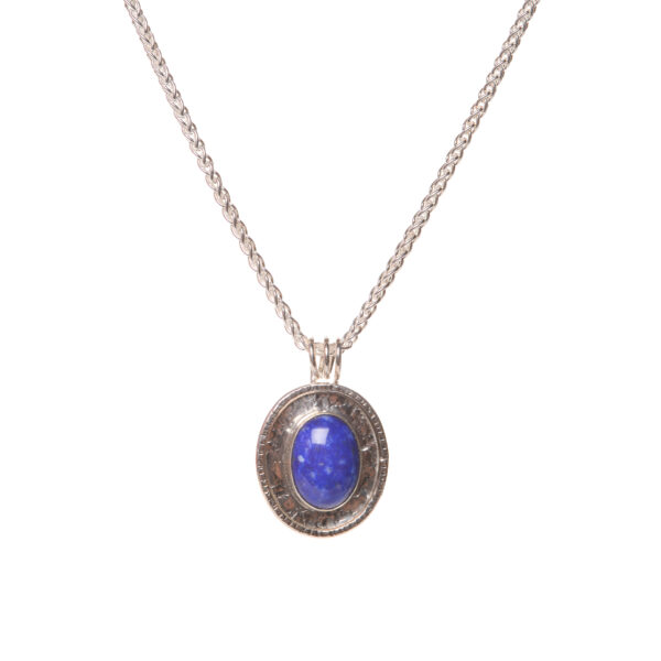 sterling silver and lapis handmade oval necklace,