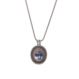 mystic topaz and granulation oxidized silver necklace,