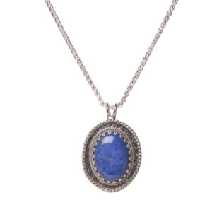 lapis pendant necklace with oxidized sterling silver
