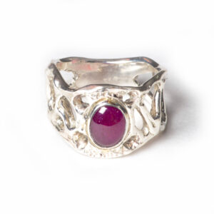 handmade cast silver ruby ring