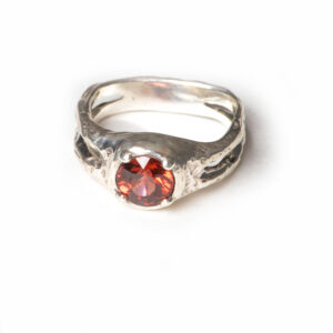 handcrafted silver and garnet ring, size 6