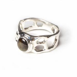 black sapphire handmade ring, cast silver sapphire ring