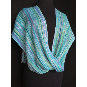 blue handwoven infinity scarf with multicolored thread