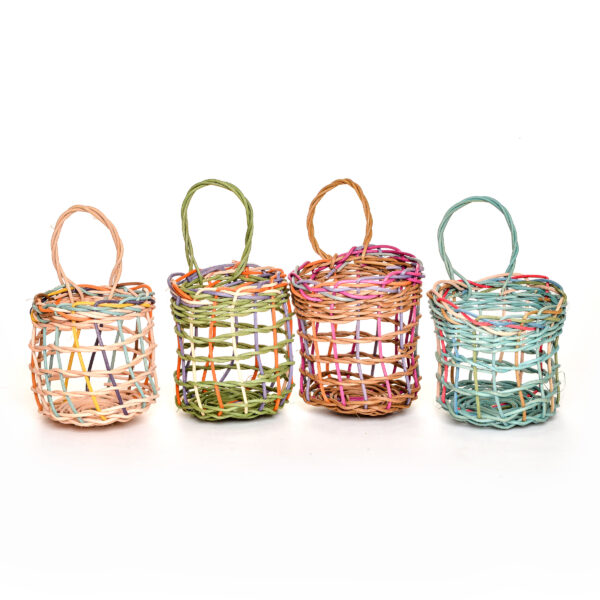 handmade colorful garlic wall basket