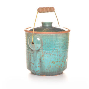 large green handmade ceramic compost bucket with handle and lid