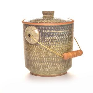 gray blue and green ceramic handmade compost bucket