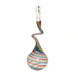 bright rainbow swirly ball glass ornament