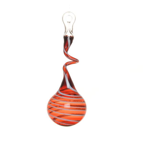 red and white swirly handmade glass ornament