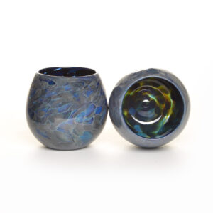 handmade blue and silver blown glass cups, asheville glass blowing