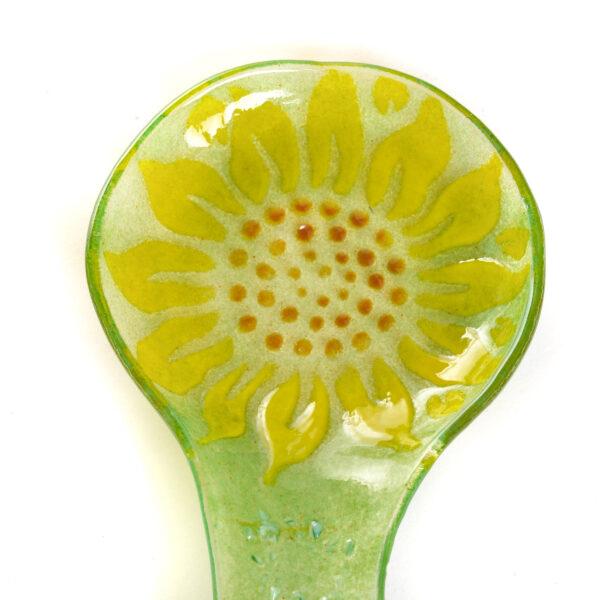 sunflower handmade glass spoon rest,