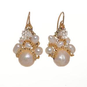 white katsumi pearl custer earrings with woven seed beads, wedding bride earrings