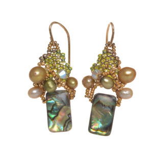 green abalone woven seed bead cluster earrings