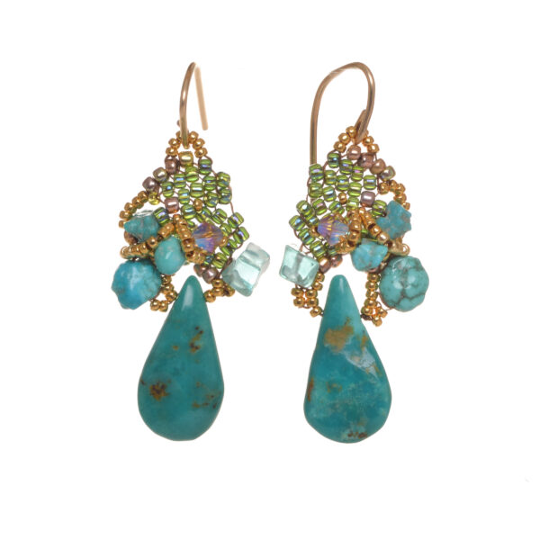 turquoise tear drop handwoven cluster earrings