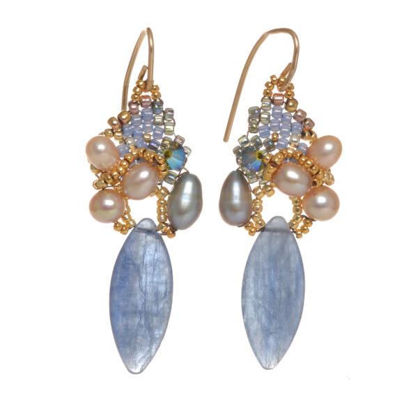 long kyanite woven bead cluster pearl earrings
