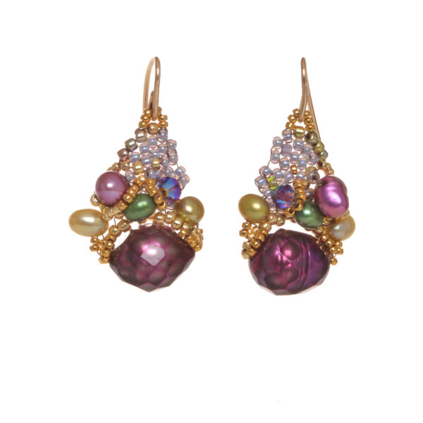 hot pink magenta faceted pearl earrings clustered with woven beads and crystals with gold