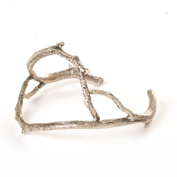 handmade cast silver twig cuff, natural twig jewelry