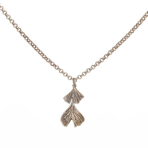 handmade silver ginkgo leaf necklace