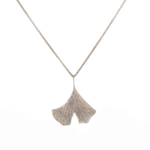 large ginko leaf silver necklace