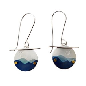 handcrafted blue ridge mountain earrings, argentium and silver earrings
