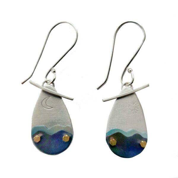 blue ridge mountain handmade earrings, handmade silver layered mountain earrings,